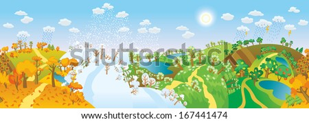 Change of seasons. Seasons in landscape. Beautiful natural landscapes at different time of the year - winter spring, summer, autumn. Vector illustration. Seamless panorama - stock vector