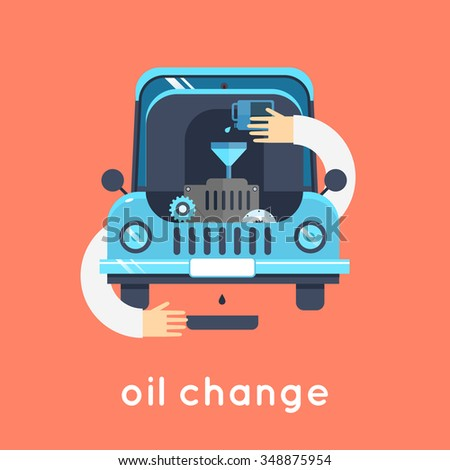 Changing Engine Oil car. Flat style vector illustration - stock vector
