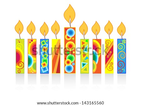 chanuka background with candles - stock vector