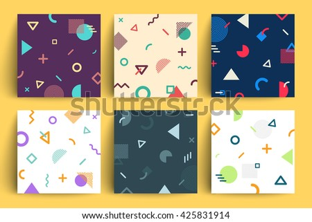 Chaotic geometry backgrounds set. Applicable for covers, placards, posters, flyers and banner designs. - stock vector
