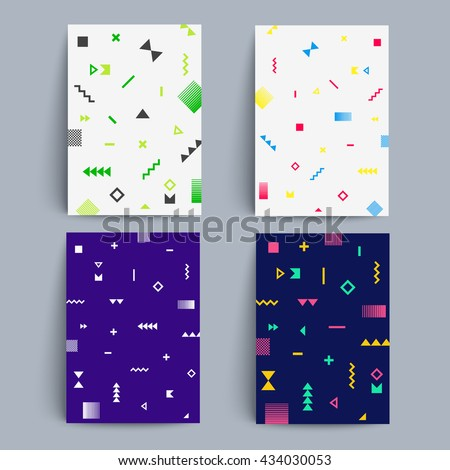 Chaotic geometry backgrounds set. Applicable for covers, placards, posters, flyers and banner design. Eps10 vector templates. - stock vector