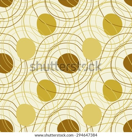 Chaotic pattern of linear curves circles and spots, seamless background. - stock vector