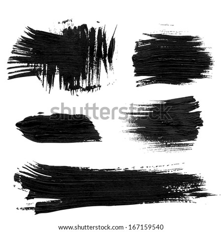 Chaotic rough realistic brush strokes with thick paint. Vector drawing - stock vector