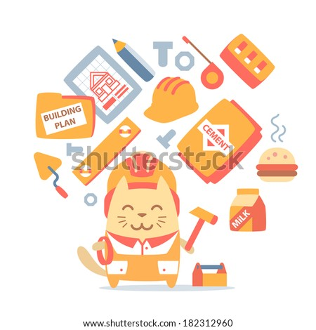 Character builder in helmet and coveralls colorful flat composition of professional accessories. Cat male stands smiling and holding a  hammer - stock vector