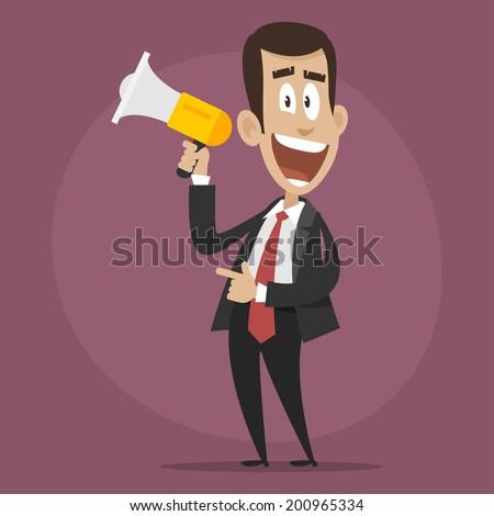 Character businessman happy speaks in megaphone - stock vector