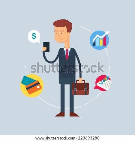 Character - businessman. Vector illustration, flat style  - stock vector