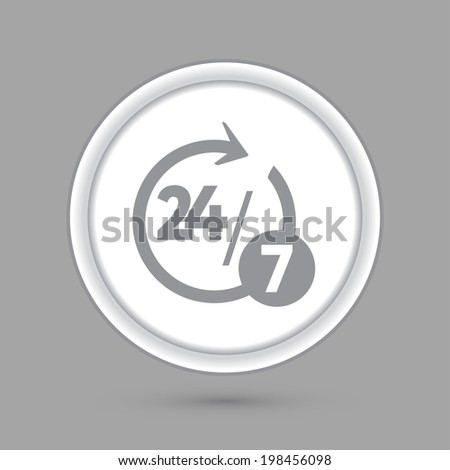 character 24 7. circle grey icon with a shadow. - stock vector