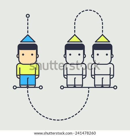 character compares himself with other people in society. abstract conceptual illustration. - stock vector