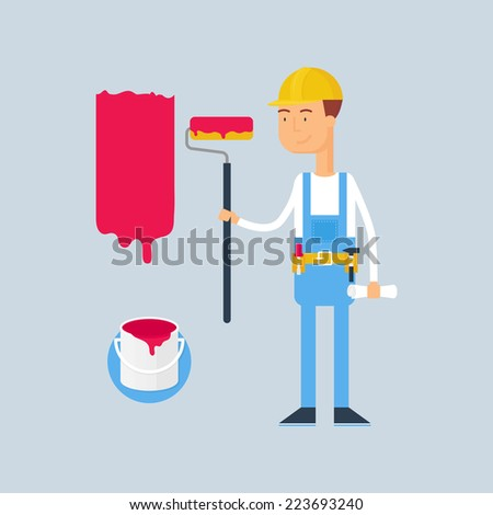 Character - construction worker. Vector illustration, flat style  - stock vector
