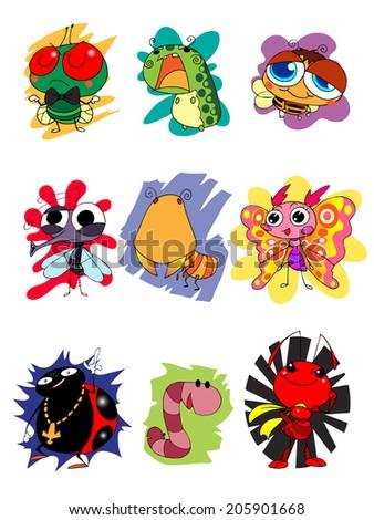 Character design  cartoon oh bug cute set 1 - stock vector
