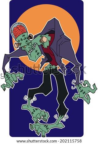 Character design Halloween cartoon Frankenstein monster exotic - stock vector