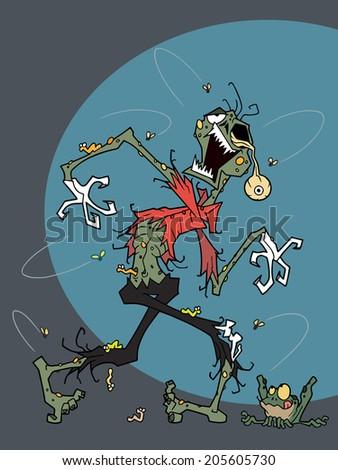 Character design Halloween cartoon of zombie - stock vector