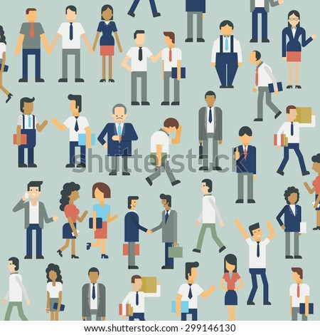 Character design of businesspeople in various gesture, diverse, and multi-ethnic. Flat design with simple style.  - stock vector