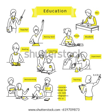 Character design set, line icons, drawing, sketching, education concept, students and teachers, man, woman, friends, various activities. Infographics vector illustration, simple and minimal style.