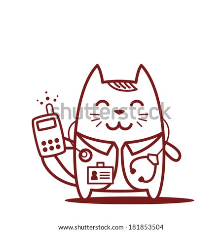 Character doctor in medical coat with a stethoscope line art. Cat male stands smiling and holding an phone - stock vector