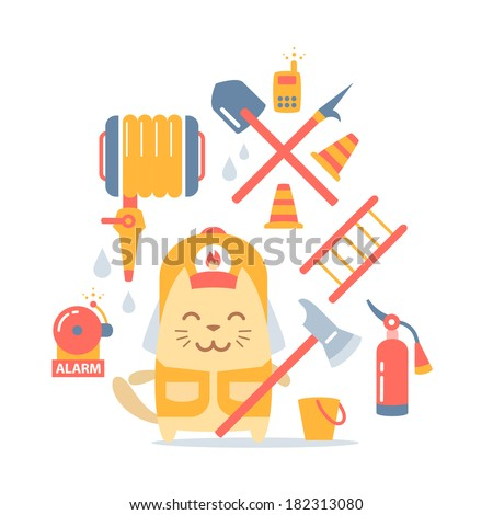 Character firefighter in coveralls and helmet colorful flat composition of professional accessories. Cat male stands smiling and holding a  fire ax - stock vector