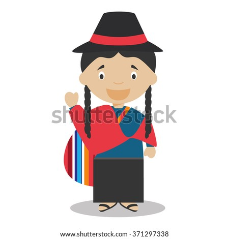 Character from Ecuador dressed in the traditional way Vector Illustration. Kids of the World Collection. - stock vector