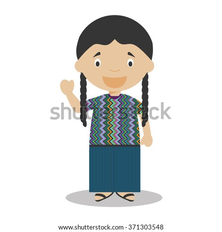 Character from Guatemala dressed in the traditional way Vector Illustration. Kids of the World Collection. - stock vector
