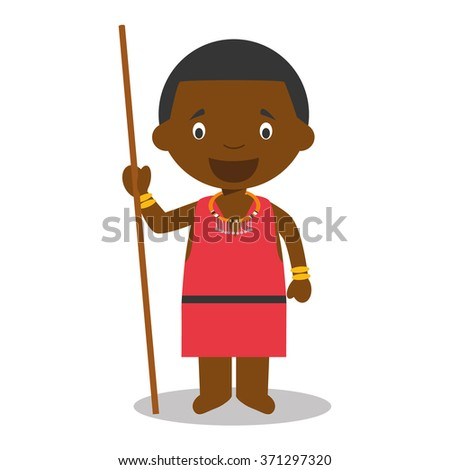 Character from Kenya dressed in the traditional way of the Masai tribe. Vector Illustration. Kids of the World Collection. - stock vector
