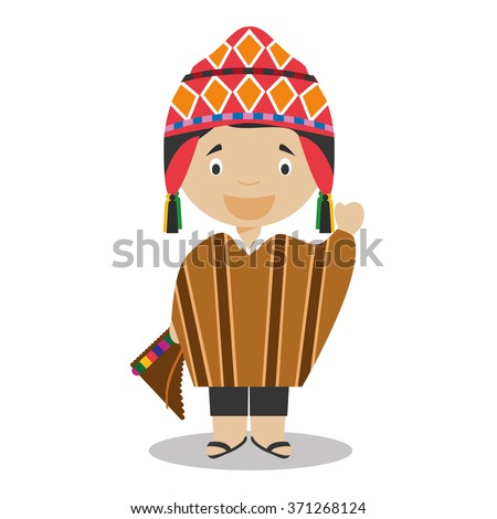 Character from Peru dressed in the traditional way Vector Illustration. Kids of the World Collection. - stock vector