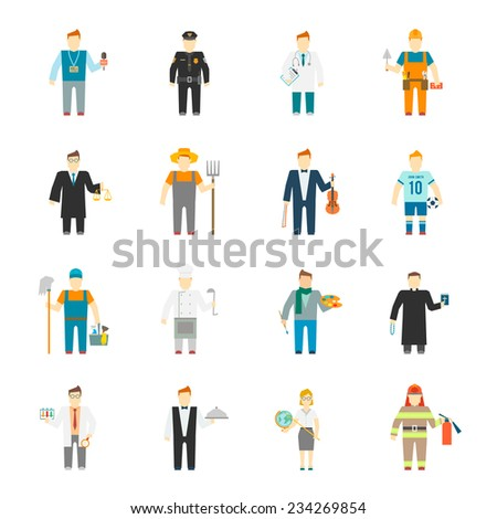 Character icon flat profession set with builder worker cook teacher doctor isolated vector illustration - stock vector