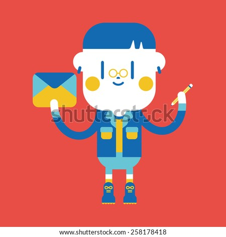 Character illustration design. Boy writing letter cartoon,eps