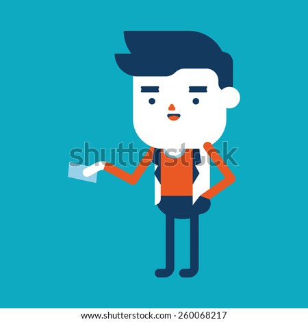 Character illustration design. Businessman giving name card cartoon