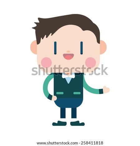 Character illustration design. Businessman joyful cartoon,eps - stock vector