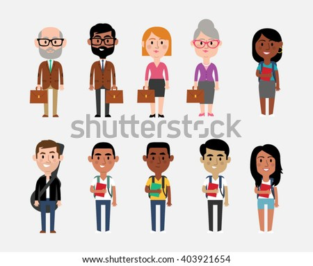 Character Illustrations Depicting Occupations In Education - stock vector
