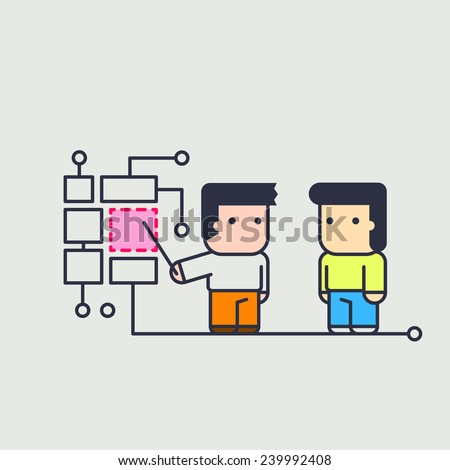 character instructing assistant. Conceptual illustration. line art style - stock vector