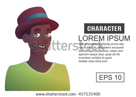 Character man in a hat. Cartoon illustration style.