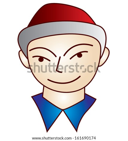character man smile face - stock vector