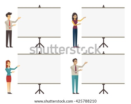 Character of business people, business man and woman, presenting with blank projection whiteboard screen. Vector character design, flat design, diverse and multi-ethnic, character set.  - stock vector
