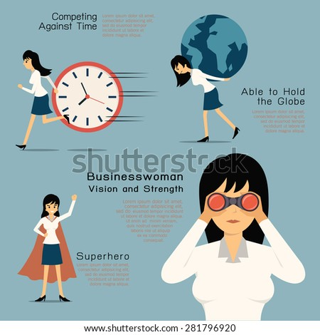 Character of Businesswoman in concept of vision and strength, superhero. Flat design in simple design. - stock vector