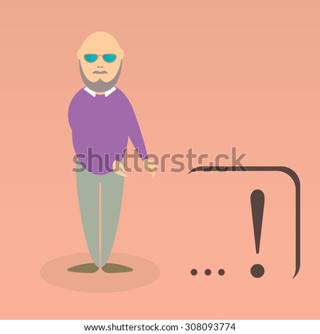 Character of elderly professor. Can be used for infographic, school book design, magazines and web design. Vector illustration. In flat design. Pose 3.