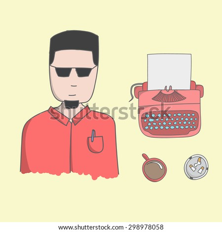 Character outsider writer Guy illustration with typewriter, coffee and ashtray on a yellow background - stock vector