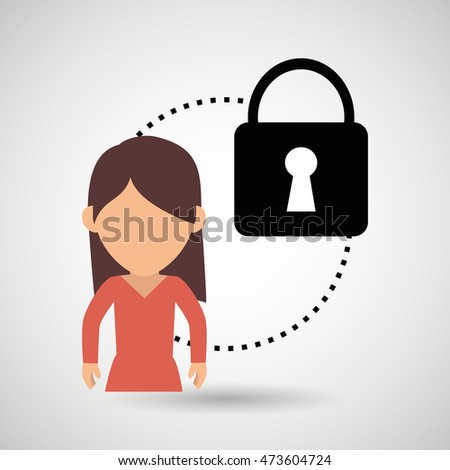 character padlock secure protection vector illustration eps 10