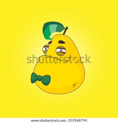 Character Pear with bow tie on his chin smiling - stock vector