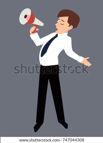character person speaks into a megaphone