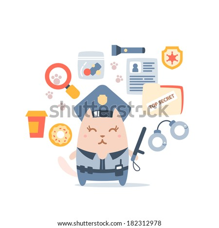 Character police in officer's cap and in the form of police with a official stick colorful flat composition of professional accessories. Cat female stands smiling and holding a  police stick - stock vector