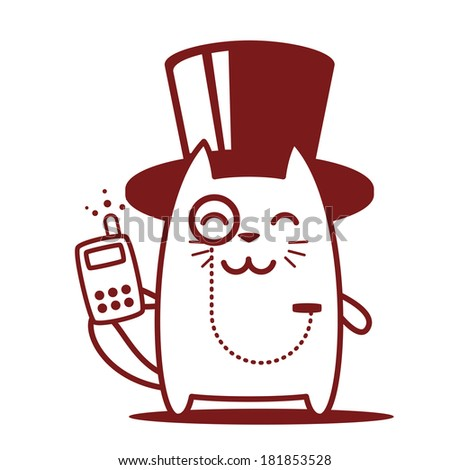 Character rich gentleman in a hat-cylinder and a monocle line art. Cat male stands smiling and holding an phone - stock vector
