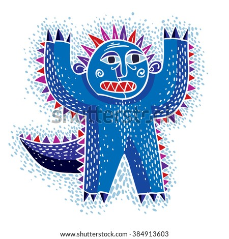 Character scared monster vector flat illustration, cute blue mutant. Drawing of weird beast, emotional expression.