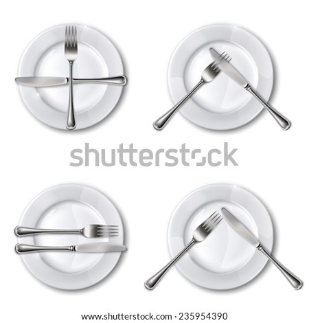 Character set cutlery in the restaurant. Isolated.Mesh.This file contains transparency. - stock vector