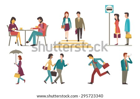 Character set of businesspeople, man and woman in outdoor activity. Sitting in coffee shop, walking across zebra crossing, waiting at bus stop, go to work, running, smoking, chatting. Flat design. - stock vector