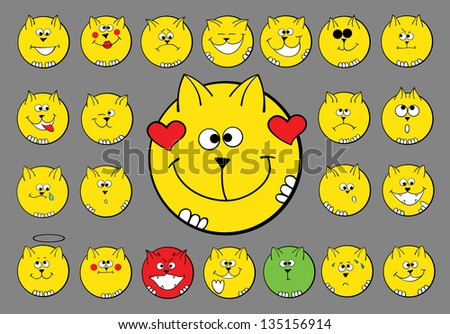 character set of smiling cats, round yellow icons depicting various emotions - stock vector