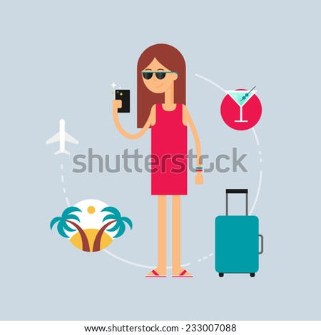 Character - tourist, travel concept. Vector illustration, flat style  - stock vector