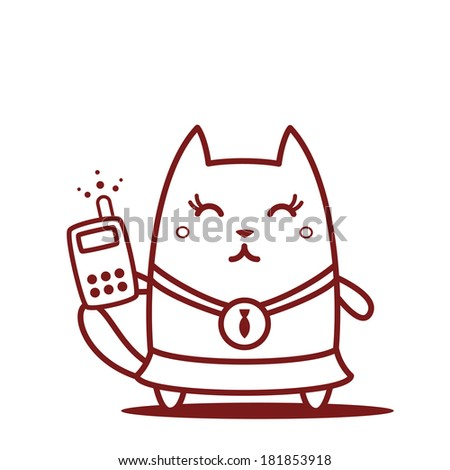 Character winner with a medal line art. Cat female stands smiling and holding an phone - stock vector
