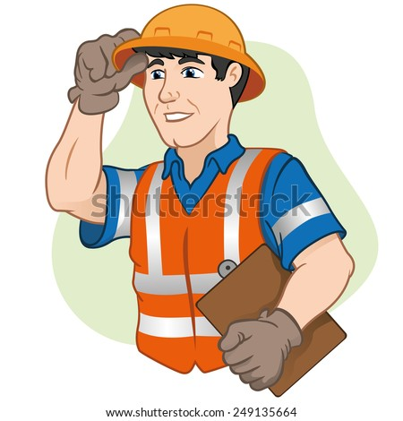 Character workers with safety equipment at work. Ideal for informational cultural events, tourism and institutional - stock vector