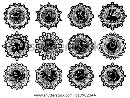 Characters Chinese zodiac signs in the snowflake. Black and white.Vector illustration - stock vector