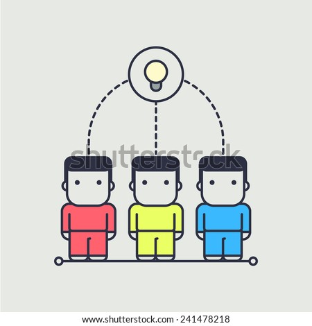 Characters created a collective idea. abstract conceptual illustration. - stock vector